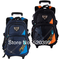cartoon trolley/wheels school/books/children/kids  bag shoulder backpack  with detachable  for  boys grade/class 2-5 middle