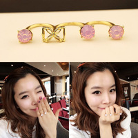 Min Order $18(Can Mix Item) Gold Color Alloy Lavender Pink Simulated Gemstone Three Conjoined Opening Finger Ring For Women