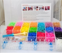 Diy family loom bands kits 2014 ne (3000solid&1000GITD&400 Glitter loom bands+100 clips+18 charms+1 frame+1 mini hook)