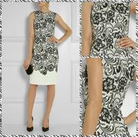 Free shipping 2014 lace pattern printed twill dress Slim Taiga 399582