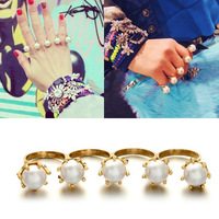 Min Order $18(Can Mix Item) 2014 New Fashionable Gold Color Alloy Simulated Pearl Opening Rings Four Conjoined Rings