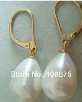 Genuine AAA++ south sea10*12mm white pearl earrings 14KG gold
