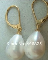 Genuine AAA++ south sea10*12mm white pearl earrings 14KG gold