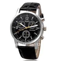 8077 Fashionable Leather Band Men's Quartz Wrist Watch (Black)