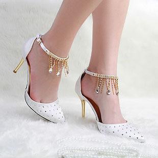 high heels prom wedding shoes ladies crystal rhinestone pointed shoes