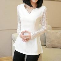 Spring Lace Patchwork Chiffon Shirt Female Medium-Long Slim V-Neck Long-Sleeve Basic Shirt Top