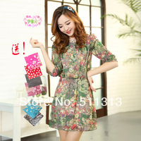 FREE SHIPPING 2014 Spring slim elegant chiffon vintage floral three quarter sleeve O-neck dresses