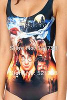 2014 new women swimwear one piece swimsuit Harry Potter Print Pattern unique designer monokini swimwear show Y014