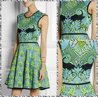 Free shipping 2014 European and American round neck Slim thin waist big swing  dress green printed  dress 431487