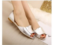 2014 new Spring fashion pointed toe flat bow flats color block black and white plaid plus size women's shoes 20