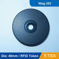 Dia: 40mm ABS RFID Token Tag, RFID Disc Tag, RFID Tag for patrol guard system, Ntag 203 Chip free shipping