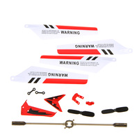 Syma Full Remote Control Toys Replacement Parts Set Spare Kit Head Cover Main Blades Balance Bar Etc for S107G RC Helicopter Red