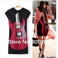 Free Delivery Celebrity Sell Woman Brand European Style Dresses Lapel Club Wear Punk Rock Guitar Prints Black Slim Dress