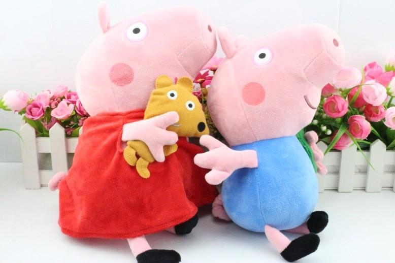 O envio gratuito de 10 pçs/set 11 polegada 30 CM Peppa porco de pelúcia Peppa com Teddy & George com Dinosaur porco de pelúcia tamanho grande(China (Mainland))