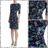 Free shipping 2014 European and American big round neck elegant fashion printing sleeve Slim Dress 2224856598