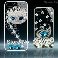60g Rhinestone swans phone case for iphone 5 5s 4c 4 4s Fashion DIY rhinestone phone cases Free shipping