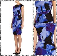 Free shipping 2014 European and American big BLUELOVER deep temperament retro fashion Slim Dress 11431298
