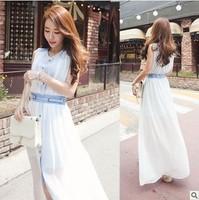 New 2014 Summer Women's Fashion Bohemian Sarafan Chiffon Dress Women White Long dress Girl Bodycon Beach dress Free Shipping