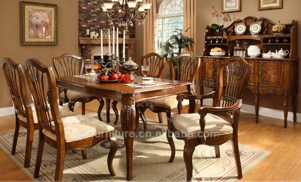 Lujo cl sico juego de comedor de madera en sets de muebles - Muebles antiguos de comedor ...