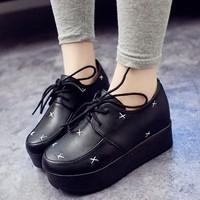 2014 Vintage Gothic Lace up Leather British Punk HARAJUKU Creepers Platform Single Shoes Fashion Preppy Style Flat Summer Autumn