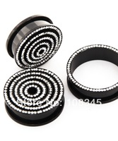 Pair of Anodized black SINGLE ROW GEM SCREW FITTED FLESH TUNNEL EAR PLUG EXPANDER STRETCHER