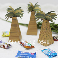 Free Shipping 100pcs Lovely Coconut Trees Favor Box/Wedding Favor Box/Candy Box/Garden Supplies