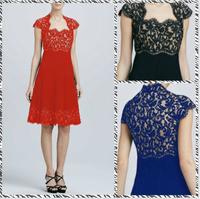 Free shipping 2014summershort-sleeved round neck lace  dress put on alarge sub ML13333