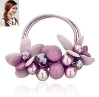Korean fashion joker handmade flowers crystal beaded hair bands+Free shipping#10113074