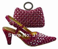 Latest stock shoe fushia pink color shoe Fashion Shoes and Matching bag at wholesale and retail price for free shipping