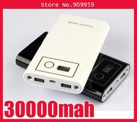 30000mah LED power bank With universal Dual USB Outputs External Backup Battery charger + 8 Connector+Retail box