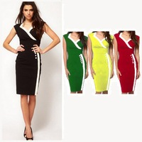Dropshipping 2014 Summer Women Popular Top Grade Bandage Patchwork V-Neck Knee Length Business Party Casual Bodycon Pencil Dress
