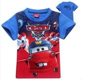 "Free shipping  Hot the new spring 2014 cotton top-grade cartoon ""cars"" t-shirts, children's wear t-shirts short sleeve T-shirt"