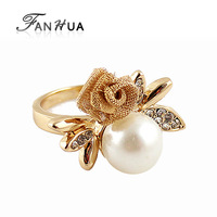 Gold Color Alloy Flower Simulated Pearl Rhinestone Wedding Rings New 2014 Fashion Designer Joias for Women