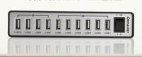 FREE SHIPPING!! 2014 hot sell U M 10 Port High Speed USB3.0 HUB Blue LED External Power  H10-U2