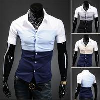 Free shipping 2014 2014 New arrival hot-selling slim short-sleeve shirt for men 9072