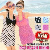 Akf quality bikini beach piece set steel push up big dot bow split swimwear