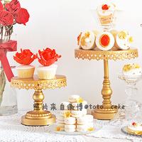 Gold  iron metal cake stand cake pan West pallet wedding decoration (Set of three)