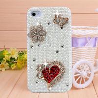 Handmade Diamond Heart Butterfly Rhinestone Case Cover for iPhone 4 4s case for iPhone 5 5s case cover Mobile Border Protection