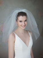V030 SHORT DOUBLE LAYERS BRIDAL VEIL 36/50CM WITH COMB WEDDING ACCESSORIES