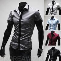 Free Shipping 2014 summer New Fashion Casual slim fit short-sleeved men's dress shirts Korean Leisure styles  shirt M-XXL 9077