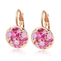 A346  brand crystal earrings wedding Genuine Austrian crystal crystal ear clips rose powder  B6