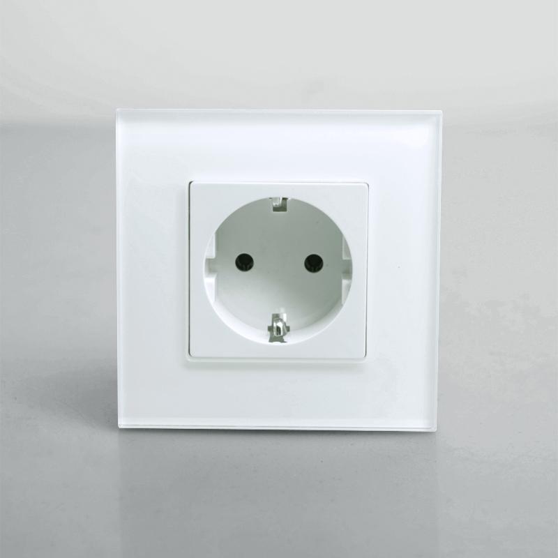 KOPOU Single EU Standard Power Outlet Socket, White Crystal Glass Panel, AC 110~270V 16A Wall Power Socket, Free Shipping(China (Mainland))