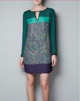 2014 latest fashion ladies green floral chiffon long-sleeved women's dress casual shift dress S / M / L 9801TA