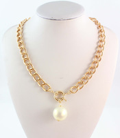 (Min order $10,Mix Order ) New Comming High Quality Chunky Gold Plated Faux Pearl Choker Bib Necklace