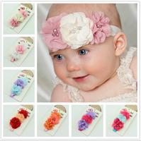 Fashion Baby Double Chiffon Flower with Rhinestone Headband Girls & Boys Elastic Lace Hairband Children Baby Accessories