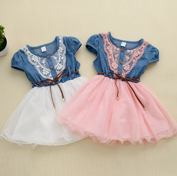 2014 new fashion Girls baby Lace Belt tutu cowboy dress children Patchwork mesh dresses for girl(China (Mainland))