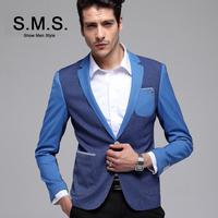 S.M.S.  2014 New TR Blazer Men's Sky Blue Suits Men Casual Slim Brand Blazers Splice Jacket Free Shipping 135094