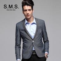 S.M.S.  2014 New TR Blazer Men's Elegant Gray Suits Men Casual Slim Brand Blazers Luxury Jacket Free Shipping 135095
