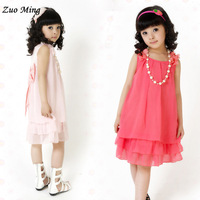 Retail free shipping 2015 spring autumn  female child summer necklace chiffon one-piece dress Size:4T - 14