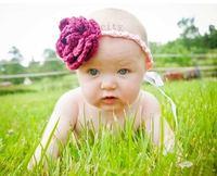 2014 Fashion newborn baby hat knit crochet flower headband  headwear efg1